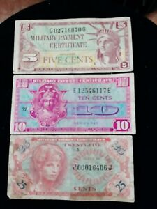 US Military Payment Certificates 5, 10, 25 Cent Notes