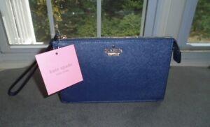 Kate Spade New York Blazer Blue Leather Leila Wristlet NWT $88