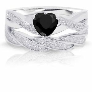 Infinity Celtic Black Onyx Heart Engagement Wedding Sterling Silver Ring Set