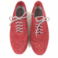 Women's W02106 Cole Haan Zerogrand Wing Red Suede Oxford Sneakers Size 5.5 B