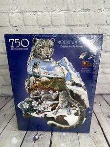 MOUNTAIN MAJESTY 750 Piece Snow Leopard Shaped Jigsaw Puzzle by Russell Cobane