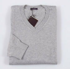 NWT $535 BALLANTYNE Heather Gray Soft Cotton-Cashmere Sweater Slim-Fit L V-Neck