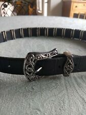 Brighton Belt Black Leather with Silver Edging   - size L