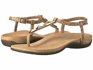 Vionic Orthaheel REST NALA Embellish Leather T-Strap Sandals GOLD CORK 11 M NIB