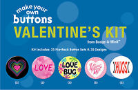 Badge-A-Minit - Valentine's Themed Make-Your-Own Button Kit New! #TBK8