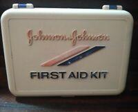 VINTAGE  FIRST AID KIT JOHNSON & JOHNSON EMPTY PLASTIC BOX