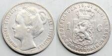 Netherlands HOLLANDA PAISES BAJOS Wilhelmina I 1901 1 GULDEN SILVER COIN VF+