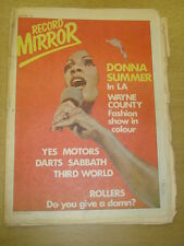 RECORD MIRROR 1978 OCT 28 DONNA SUMMER YES MOTORS DARTS BLACK SABBATH ROLLERS