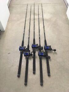 "Lot of 5 Tsunami Sea Tech Boat Rod Reel Combos 6'6"" Medium Heavy 20-50 lb"