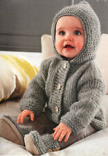 Easy Baby Jacket with Hood  3 - 24 mths -  Chunky Wool Knitting Pattern