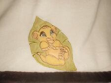 Disney The Lion King Simba Baby Cub on Leaf Blanket Cream Ivory Brown Trim