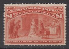US # 241 VF unused ng Columbus stamp $1 cv= $ 600