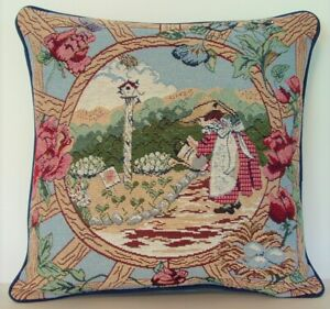 Women Gardening w/ Lattice Frame Border With Roses & Flowers Tapestry Pillow New