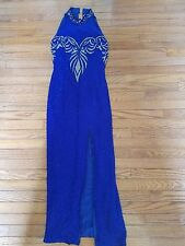 Vintage Blue Sequence Beaded Evening Gown Long Formal - Size 6