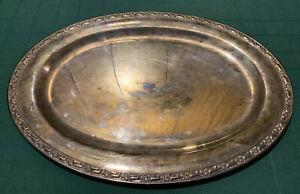 "Vtg ONEIDA SilverSmiths Silverplate Ornate Floral Rim 18"" Platter Serving Tray"