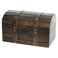 Vintiquewise Old Style Barn Trunk Wood Antique Brown