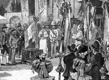 Sisi, Sissi, Kaiserin, Fahnenweihe in Innsbruck, Original-Holzstich von 1892