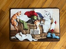 Cool Kitty Meow Cats Laundry Basket Floor Rug Novelty Tabby Cat Cushioned Rug