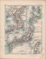 1914 Mapa ~ Japón ~ Hondo Yezo Formosa Corea Puerto Arthur & Alrededores