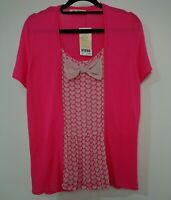 Next Petite Pink 2 in 1 Knitted Layered Cardigan Top Blouse Size 14 Bow Hearts