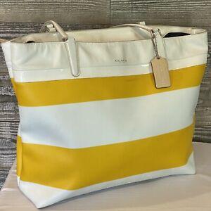 COACH 30511 Sunglow & White STRIPES PVC & Leather Tote Bag