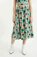 Lost + Wander Womens Tropical Print Green Size Small S A-Line Skirt $92 061