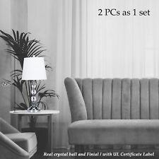 Set of 2 Table Lamp w Crystal Ball Desk Light Living Room Office Bedside Lamp