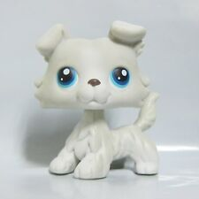 Littlest Pet Shop LPS Toy #363 White Grey Collie Dog Puppy Double Blue Eyes