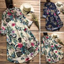 ZANZEA 10-24 Women Plus Size Mini Short Floral Dress Top Tee Shirt Tunic Blouse
