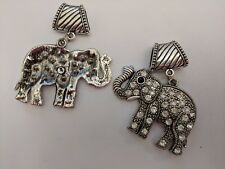 Tibetan Style Alloy Rhinestone Elephant Pendant, Antique Silver, 60x44x4mm