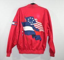 Vintage 90s Tommy Hilfiger Mens Medium Spell Out Big Flag Logo Bomber Jacket Red