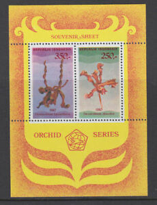 Indonesia 1980 Mint MNH Minisheet Orchid Series Dendrobium discolor lasianthera