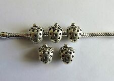 10 Silver Strawberry European Style Charm Beads 12x9mm