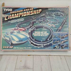 RARE SET Tyco slot car Magnum 440 x 2 Championship Nite Glow 60' track 1989