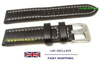 Sports Black Leather Watch Strap in 18mm 20mm 22mm Sizes