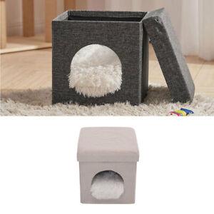 Pet Puppy Cat Bed Stool Kitten Cube Shaggy Nest Ottoman Footstool Storage Box UK