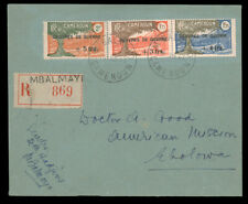 CAMEROUN 1940 WAR RELIEF SET ON REG. COVER #B7-9 tied by Mbalmay CDS on reg. Jun