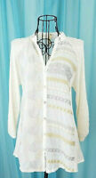 Anthropologie Tiny Silk Blend Button Up Metallic Embroidered Blouse Size XS Flaw