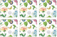Redoute Meadow Butterfly Floral Flowers Set of 6 Cork Backed Drink Coasters New