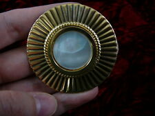 (br-7) white Mother of pearl circle brass pin pendant brooch fashion jewelry