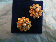 Vintage AVIGAD Sample Earrings Pearl Turquoise Flower Gold Plated Unique