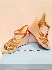 Antonio Melani Women Wedge Strappy Sandals Gray/Silver Leather 10M NEW.