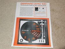 Garrard ZERO 100 Turntable Ad, 1 pg, 1972, Article, Color, NICE!