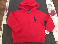 RALPH LAUREN BOYS HOODIE RED SWEATER ZIP SIZE 2/2T NEW