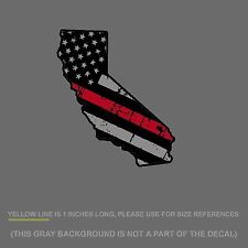 """Cali Thin Red Line Sticker Decal -  FireFighter California US Flag Distressed 5"""""""