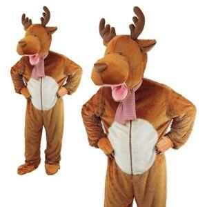 Big Head Reindeer Costume Moose Fancy Dress Mascot Christmas Animal Outfit Adult