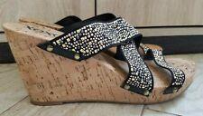 XOXO Wedges size 9.5 M - Benji Studs - black/brown - heels/shoes/sandals