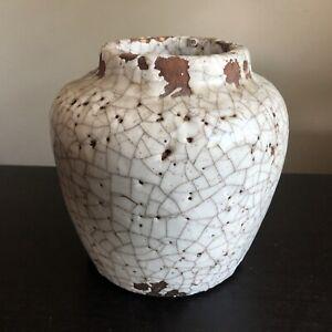 Fine Old Chinese Japanese Thick White Glazed Pottery Crackle Jar Vase Art
