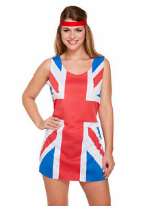 Spice Girls 90s Union Jack Dress Costume - Ladies Womens Fancy Adult Ginger