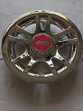 "(4)8"" Golf Cart Hub Cap Wheel Cover Chrome Rose RED CROSSED FLAG for EZGO/Yamaha"